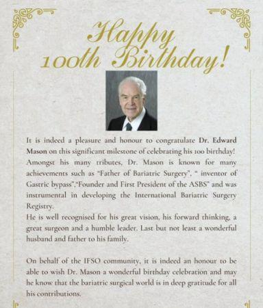 100 років Едварду Мейсону фундатору бариатричноі хірургіі.
